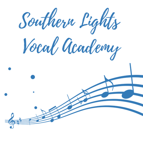 Southern Lights Vocal Academy Blue Logo with manuscript and southern cross